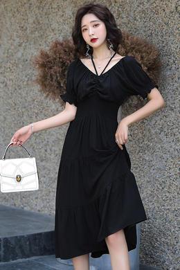 Z20XL062夏新女中长款一字领V领两穿中长款松紧高腰连衣裙吊带