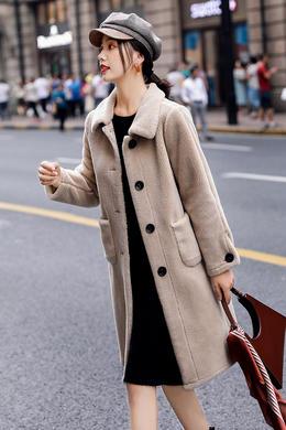 羊羔毛绒外套2019秋新款韩版宽松皮毛一体麂皮绒中长款大衣
