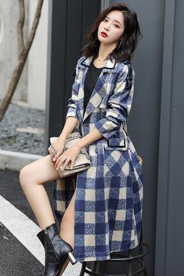 新款麂皮绒长款风衣修身显瘦收腰格子外套系带双排扣上衣女