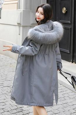 DY19131冬装新款时尚韩版宽松连帽貉子毛领兔毛内衣皮棉衣外套