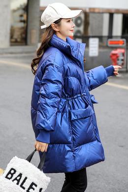DY19176亮面白鸭绒羽绒服女中长款韩版宽松ins冬季新款外套