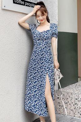Z20XL081复古收腰中长款气质连衣裙女神范修身性感侧开叉法式裙