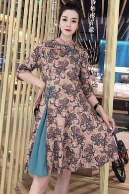 秋季新款立领麂皮绒复古印花连衣裙改良式收腰显瘦气质流行女装