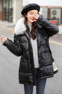 DY19175冬装韩版可拆毛领可抽腰百搭洋气新款时尚休闲羽绒服女