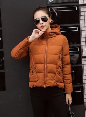 Z16DM8628韩版短款棉衣女焦糖色