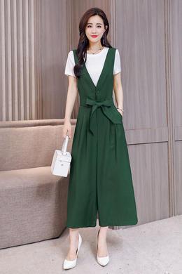 Z18CT101背带阔腿裤女夏季高腰显瘦韩版宽松+纯棉 上衣套装