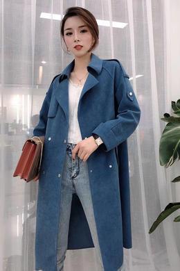 百搭外套女春秋季2019年新款韩版麂皮绒风衣长款小个子宽松潮