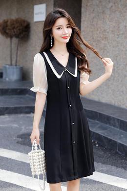 Z20XL056夏季新款韩版时尚修身百搭娃娃领短袖连衣裙