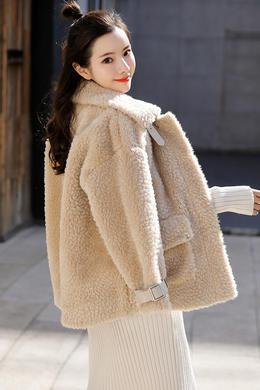 Z19QW987秋冬新款韩版宽松加厚流行毛绒茸外套女机车棉衣潮